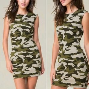 BEBE Bodycon Mini Dress Knit Camouflage Camo S
